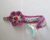 Pacifier holder, binki holder, hand crocheted, lady bug, magenta and light gray