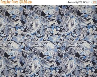 ON SALE Muted Indigo Paisley Print Stretch Cotton Sateen Fabric--One Yard