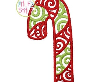 Scroll Candy Cane Embroidery Design For Machine Embroidery, INSTANT DOWNLOAD now available