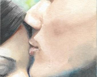 original watercolor painting / couple kiss / art illustration / man woman / romance / blue green / couple love / gentle affection / HM041