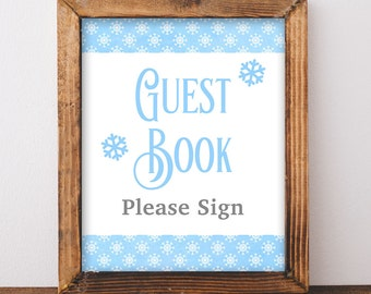 Please Sign The Guest Book Sign, Blue Snowflake Baby Shower Sign, Winter Shower, 2 Sizes, DIY Printable, INSTANT DOWNLOAD