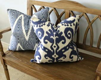 Ikat Pillow Cover, Designer, Decorative, Square 20 inch, 20x20, Blue and Oatmeal