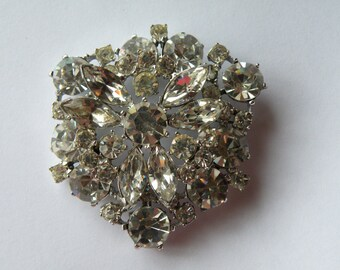 H. Pomerantz Snowflake or Flower clear rhinestone layered brooch.