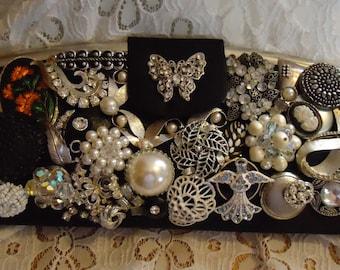 Black & Silver Glitzy Glamour Clutch Purse- Vintage Pins, Earrings, Pearls, Rhinestones Embellishment  OOAK