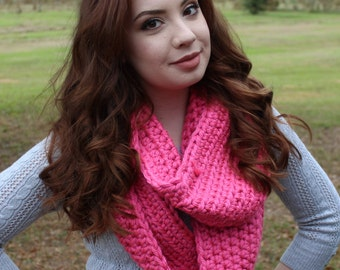Chunky Crocheted Bright Pink Infinity Scarf