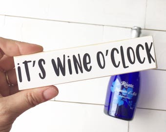 SALE! Selah Signs It's Wine O'Clock Printed and Mounted Mini Block 6x1.5""