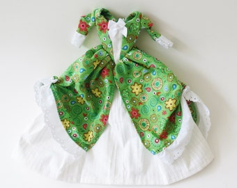 Historic Colonial Barbie dress:  Green with Fun Flowers and Circles