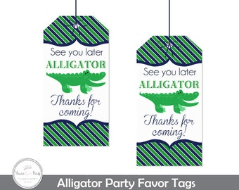 Alligator Party Favor Tags, Alligator Party, Alligator Birthday, Alligator Party Favors, Alligator Tags, Alligator Gift Tags, Navy and Green