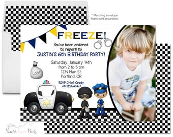 Policeman Party Invitation Printable or Printed - Policeman Birthday Invitation - Police Officer Invite - Detective Party - Cops and Robbers