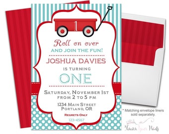 Little Red Wagon Invitation - Little Red Wagon Invite - Red Wagon Birthday - Red Wagon Party - Wagon Invitation - Wagon Invite - Boys Party