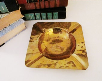 Colonial Virginia, Hand Made, Vintage Hammered Brass Tray, Hollywood Regency Style, Brass Ashtray, 1970s Decor