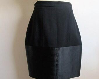 80s Wayne Clark Wool Skirt Vintage 1980s Black Crepe Quilt Designer Pencil Straight Skirt 14US