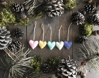 Felted wool heart ornaments, set of 5, Unicorn Rainbow, for Valentine's Day, Christmas ornament, rainbow ornament, mini rainbow ornament set