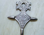 Vintage Muslim Tuareg Cross Pendant, Silver Plated Brass, Etched Design,Nigerian Nomad Jewlry, 58mm by 44mm, 1 pc.