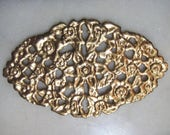"""Vintage Brass Ornate Oval Floral Open Work Medallion, Flat Raw Brass Finding, Stamped Brass, 3 1/2"""" by 1 3/4"""",  1 Piece"""