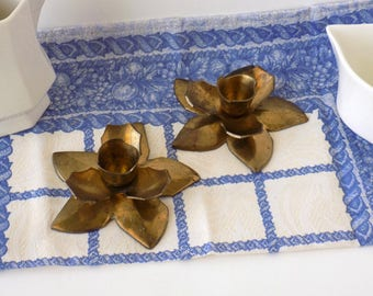 Brass Flower Candlestick Holders. Country Wedding Decor. Vintage Table Accent. Decorative Accessory. Shabby Cottage Farmhouse Chic.
