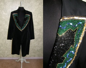 Vintage black coat with beaded sequins detail SALE