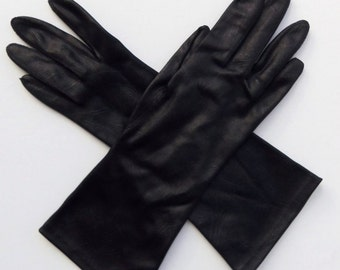 Vintage 60's Women's Gloves Faux Leather Nylon Black Mid Length Size 6.5
