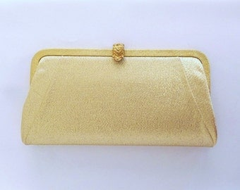Vintage 60's Clutch Purse Handbag Evening Bag in Gold Lame Convertible