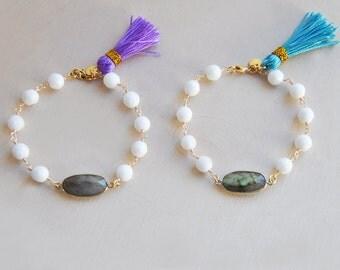 Labradorite Bracelet, Tassel Bracelet, Colorful Bracelet, Stacking Bracelet, White Jade Bracelet, Bohemian Bracelet, Boho Bracelet, Colorful