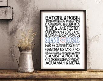 Personalized Subway Art- SUPERHERO Couples- Print 8x10