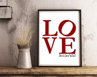 Personalized Couple Art- LOVE- Print 8x10