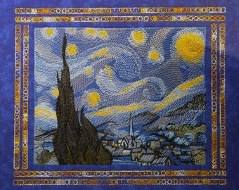 Starry Night Embroidered Tapestry (embroidered wall art)