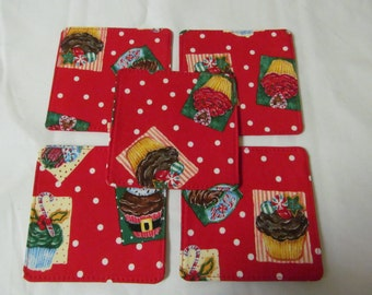 Set Of 5 Fabric Coasters/Christmas Cup Cake