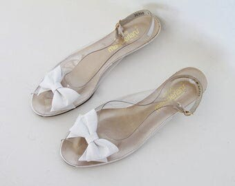 1970s Magdesians White Bow Clear Sandals / PVC and White Leather Wedges / Size 9