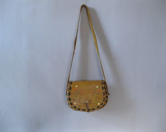 Bohemian Bag - 70s Cross Body Bag - Tooled Leather - Colorful Hand Painted Purse -1970s Shoulder Handbag