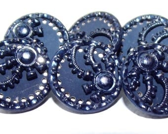 Antique Metal Button Set Original Blue Tint Twinkle Border