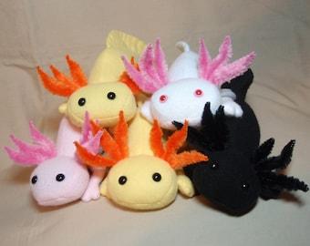Custom Axolotl - Made to Order Fleece Mexican Salamander Stuffed Plush Animal