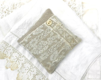 Linen and Lace Lavender Sachet Vintage Textiles Handmade Gift for Her