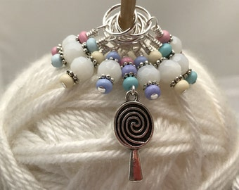 Snag Free Lollipop Beaded Stitch Marker Set - Knitting Jewelry- Stitch Holder Charms- Gifts for Knitters