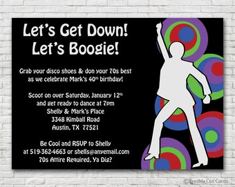 Black and Neon 70s Invitation - Printable or Printed (w/ FREE Envelopes)