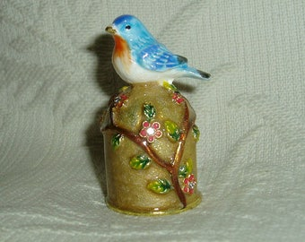 Russian Сollectible Handpainted Decorative Enamel Thimble Robin redbreast