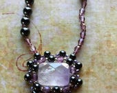 Dainty Hematite and Amethyst Necklace, Purple Jewelry, Bead Embroidery, Wearable Art, Gift for Mom, Festival Jewelry
