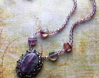 Purple Florite Amethyst Necklace, Bead Embroidery, Wearable Art, Dainty Necklace, Gift for Her, Mothers Day, Boho Gypsy Chic