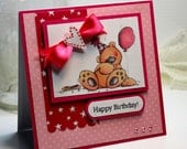 Birthday Card - Handmade Birthday Greeting Card - 3D Card Happy Birthday Whipper Snapper Bear Girl Birthday Celebrate Stationery OOAK