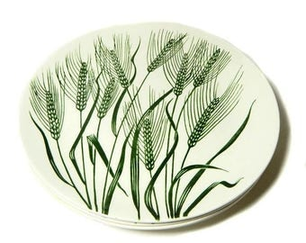 Four Homer Laughlin Wheat Americana Dinner Plates Green Wheat