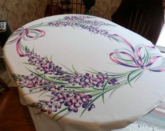 """Pretty 1950s Vintage Rayon Floral and Bows Design Tablecloth Purple, Pink, Green, Gray  48 1/4"""" x 53 1/2"""""""