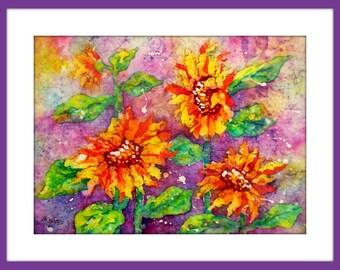 Batik Sunflowers, Watercolor Sunflowers, Sunflower Art, Watercolor Batik, Colorful Art, Original Watercolor,Gold Mauve Green, Martha Kisling