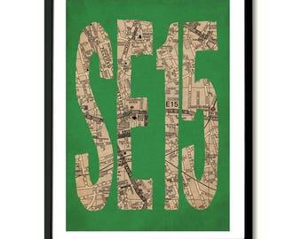 SE15, South London, Postcode Art Print