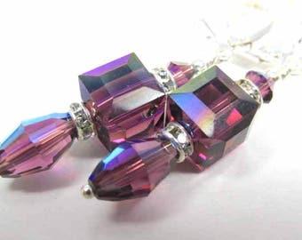 Dainty Purple Amethyst AB Swarovski 8mm Faceted Cube and Vintage Barrel Crystal Earrings