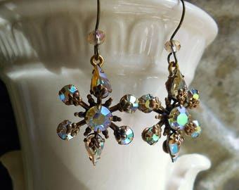 Vintage upcycle ab rhinestone earrings brass filigree Prom bridal earrings 1950s earrings navettes and rounds assemblage jewelry Triolette