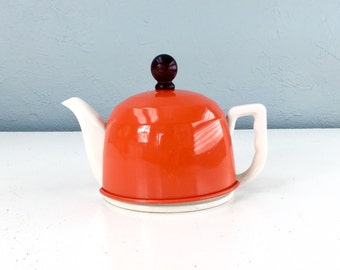 Insulated Thermal Orange Teapot, Mid Century Coffeepot, Tea Pot, Made in Japan, Vintage Dining Serving