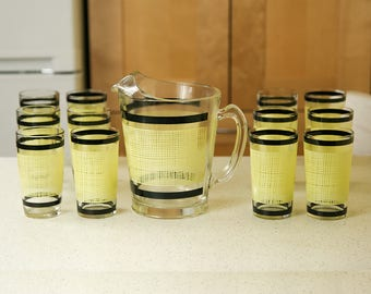 Mid Century Glassware, Pitcher and Glasses, Set of Twelve Glasses, Patio Decor