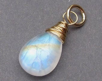 Moonstone Charm,  14k Gold Fill Wire Wrapped Pendant, Rainbow Moonstone Jewelry, Bracelet Charm, Fertility Charm with Jump Ring Stone 354