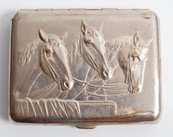 Rare vintage metal cigarette case, holder from USSR, Horses.