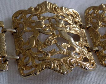 Vintage bracelet, retro golden angels and floral embossed hinged cuff bracelet,1950's jewelry